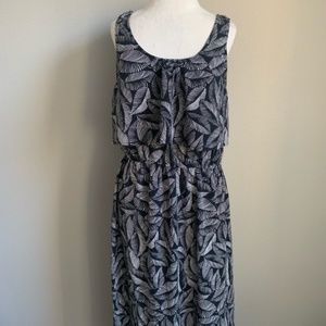 Merona Black and White Leaf Print Maxi Dress